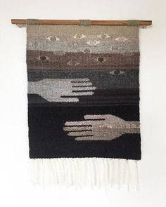 "Natalie Novak captioned her tapestry: ""Weaving about weaving, maybe. Or about being seen and held, also maybe. Or whatever mystery you want to live in these threads, definitely."" ~ @combedthunder"