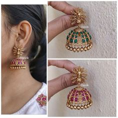 Gold Polish Peacock Jhumkas by Daivik ~ South India Jewels Gold Jhumka Earrings, Indian Jewelry Earrings, Jewelry Design Earrings, Gold Earrings Designs, Jhumka Designs, Gold Chain Design, Gold Bangles Design, Gold Jewellery Design, Gold Jewelry
