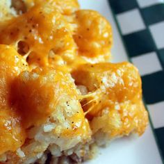 Tater-Tot Casserole...I make this all the time, but I've only ever used crm of ckn soup. The kids LOVE IT!! nom nom