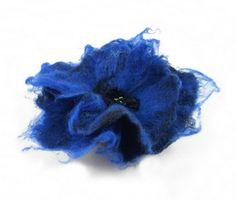 Felted Brooch felt poppy nuno nunofelt silk flower Blue by filcant