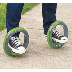 The Sidewinding Circular Skates - These skates are propelled by leaning side to side, allowing you to glide along as if riding a skateboard without pushing off the ground. Riders simply place their feet on the two platforms and lean side-to-side to rotate the rubber wheels around the feet, propelling riders forward in a serpentine motion similar to longboard skateboarding. Riders can easily perform 720° spins and turn on a dime, while stopping is achieved by placing toes on the ground.