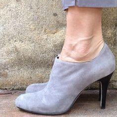 Grey Ankle Bootie Heels.