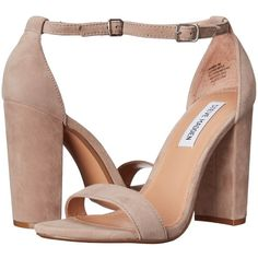 Steve Madden Carrson (Taupe Suede) High Heels ($90) ❤ liked on Polyvore featuring shoes, thick high heel shoes, ankle wrap shoes, round toe shoes, ankle strap shoes and wrap shoes