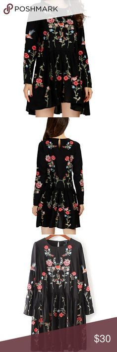 Newtoon Women Vintage Floral Embroidery Dress Long sleeve o neck ladies spring autunm casual streetwear dress. New without tag Newtoon Dresses Mini
