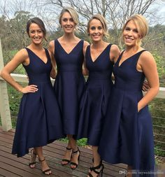 Classic A-line V-neck Navy Blue HIgh Low Bridesmaid Dress