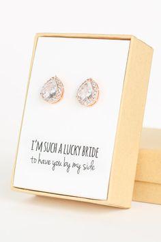 Cubic Zirconia / Rose Gold Teardrop Stud Earrings - Crystal and Rose Gold - Rose Gold Bridesmaid Earrings Wedding Jewelry -Bridal