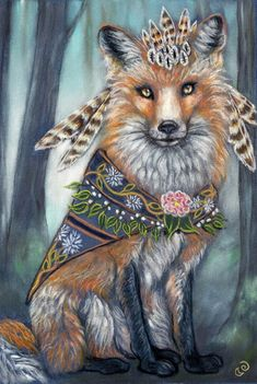 Medicine Woman a fine art print of the original soft pastel by Tammy Mae Moon. Prints come in 2 sizes: and Please select the size you prefer with the pull down option menu above. Each size print has a small white border present for matting a Art Fox, Fuchs Tattoo, Fairytale Art, Whimsical Art, Spirit Animal, Pet Portraits, Amazing Art, Tarot, Fantasy Art