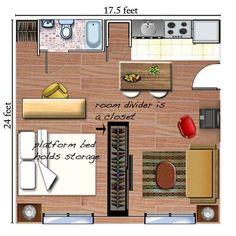 cama c/plataforma alta, el closet y escrtorio dividen la habitacion. This could work! Similar to my apartment❤️