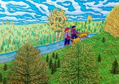 Drawing by Suzanne Berton (Canada) Landscape Drawings, Ottawa, Watercolor Paper, Markers, Trail, Original Art, Art Gallery, Arts And Crafts, Canada