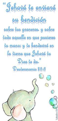 """""""Jehová te enviará su bendición  sobre tus graneros, y sobre todo aquello en que pusieres tu mano; y te bendecirá en la tierra que Jehová tu Dios te da.""""  Deuteronomio 28:8"""