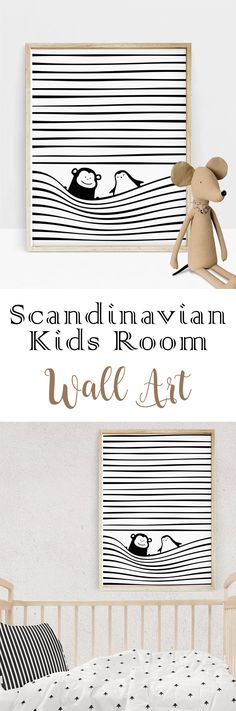 This scandinavian baby nursery decor gives a unique flavor to black and white kids room! PDF download printable! #etsy #etsysellers #monochrome #wallart #nursery #scandinavian #ad