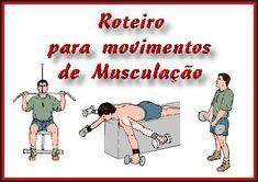 Roteiro de Movimentos para Musculacao. Veja em detalhes no site http://www.mpsnet.net/G/96.html via @mpsnet Ideal para alunos de academias que querem ganhar massa muscular utilizando-sedas tecnicas mais modernas de exercicios. Veja em detalhes neste site