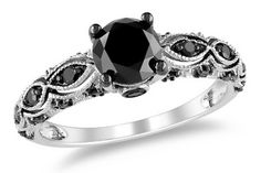 1 1/4 Carat Black Diamond 14K White Gold Engagement Ring with Black Rhodium #Gothic i like but not in black