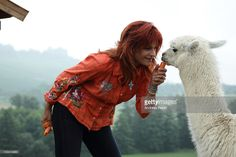 Singer Andrea Berg visits her Alpakaranch on July 23, 2010 in Aspach, Germany.