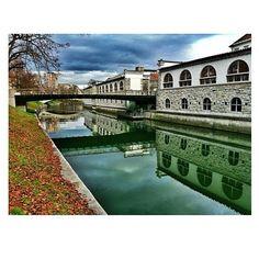Mesarski most / Butchers' bridge in te center of Ljubljana.