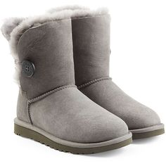UGG Australia Bailey Button Suede Boots ($195) ❤ liked on Polyvore featuring shoes, boots, grey, gray boots, suede boots, grey suede boots, gray shoes and calf length boots