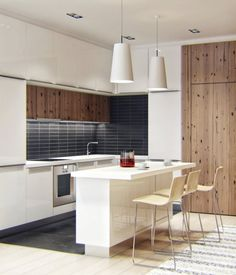 white and rustic wood textured modern kitchen