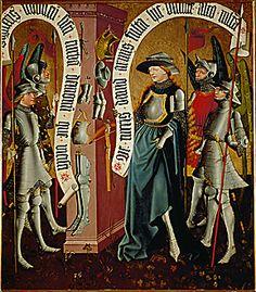 Master Albrechtsaltar - Virgin in Armour. Oil on Wood. Circa 1440. Albrechtsaltar Klosterneuburg Monastery. Sammlungen des Stiftes, Klosterneuburg, Austria.