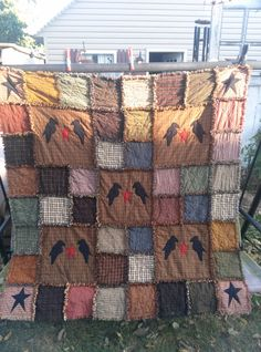 Primitive Rag Quilt Large Throw 60x60 by applevalleyprimitive