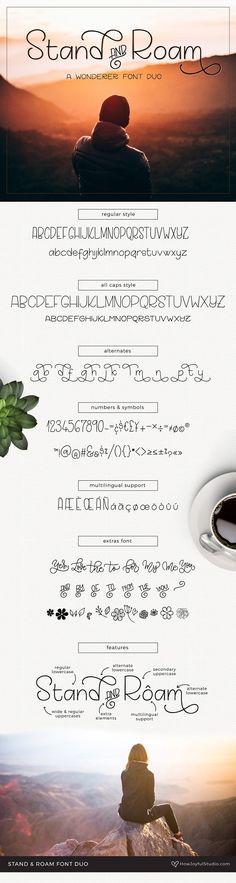 Stand and Roam font duo by howjoyful on Creative Market - dekoration Photoshop Fonts, Photoshop Illustrator, Slab Serif Fonts, European Languages, Font Setting, Modern Fonts, Creative Sketches, Pencil Illustration, Glyphs