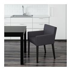 IKEA - NILS, Chair with armrests, You sit comfortably thanks to the padded seat, padded back and armrests.The cover can be machine washed.