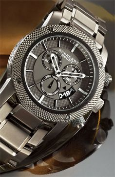 Diamond Watches Collection : Burberry Sport Chronograph Bracelet Watch - Watches Topia - Watches: Best Lists, Trends & the Latest Styles Dream Watches, Luxury Watches, Cool Watches, Rolex Watches, Watches For Men, Diamond Watches, Sport Watches, Bracelet Cuir, Bracelet Watch