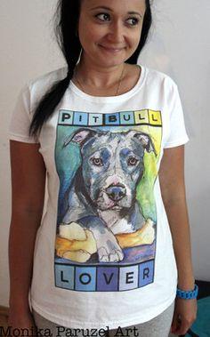 For Pit Bulls Dogs Lover Lady Fit T Shirt Art by Monika Paruzel | eBay