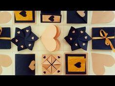 Explosion Box Design, Explosion Box Tutorial, Paper Crafts Origami, Scrapbook Paper Crafts, Boite Explosive, Birthday Explosion Box, Exploding Gift Box, Diy Gift Box, Diy Crafts For Gifts