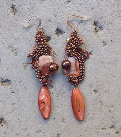 Lovely free form beaded earrings in copper and rusts by JudesArt, $41.00 ....SOLD....