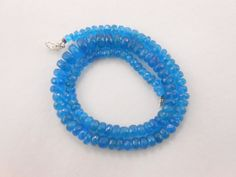 "AAA NATURAL NEON BLUE APATITE FACETED RONDELLE BEADS 16"" NECKLACE 5mm-10mm #GEMSTONETOPPER"