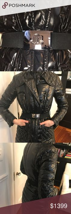 Moncler shiny belted parka size 1 fits a woman's 2 Shiny like new black Moncler women's belted dressy long parka. Hits me a little above the knee and I'm 5'7 Size 1 Moncler Jackets & Coats Puffers