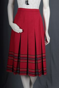 Red Pleated skirt Tartan plaid checkered striped by sparrowlyn
