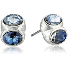 "Anne Klein ""Oval The Top"" Silver-Tone/Blue Stud Earrings ($18) ❤ liked on Polyvore featuring jewelry, earrings, silvertone earrings, stud earrings, oval earrings, anne klein and blue stud earrings"