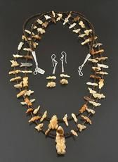 Fetish Carving Necklace & Earrings Set by Dinah Gasper (Zuni) American Pride, American Indians, Native American Pottery, Museum Shop, American Indian Jewelry, Earring Set, Black And Brown, Native Americans, Carving