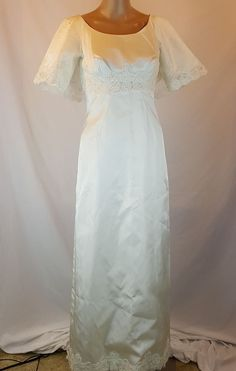 Vintage Angelair by MONIKA Wedding Dress and Train Size10 Ivory Embroidered 1964 #Monika #WigglePencil