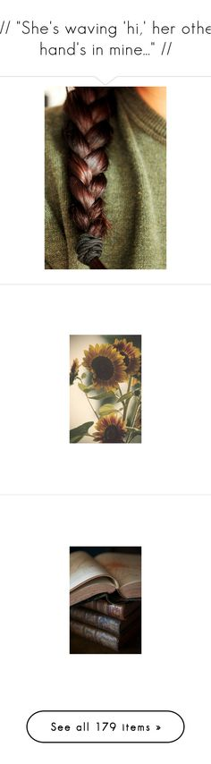 """""""🌻// """"She's waving 'hi,' her other hand's in mine..."""" //"""" by kenny-ks ❤ liked on Polyvore featuring pictures, green, hair, images, backgrounds, books, photos, animals, photo and armor"""