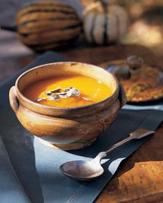 Whole peeled chestnuts add structure to pumpkin soup, texture that's important if the squash is too watery.