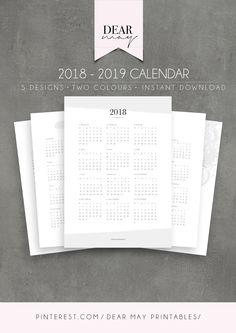 Calendar Printable ⋆ 2018 Calendar ⋆ 2019 Calendar ⋆ 5 Minimalist Designs ⋆ Annual Overview ⋆ Yearly Planner ⋆ Dear May Printables Holiday Calendar, Yearly Calendar, 2019 Calendar, Calendar Ideas, Calendar Journal, Printable Blank Calendar, Student Planner