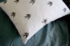 Pillowcase Print Cotton Swallows pattern. Set 2  original design by FaroStore USA and Canada Shipping