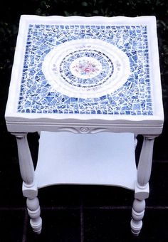 Mosaic Shabby Chic End Table in Blue and White...FURNITURE IS ABOUT RECLAIMING THE OLD TO MAKE IT NEW AGAIN. I SCOUR YARD SALES, THRIFT SHOPS AND EVEN SIDEWALK DISCARDS TO FIND OLD CHAIRS AND TABLES THAT JUST NEED SOME TLC AND A PLAN TO REINVENT THEM INTO BEAUTIFUL AND FUNCTIONAL PIECES. By Ellen