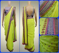 Add a floral touch to this bright neon saree
