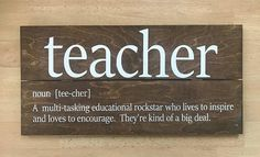 Teacher defined in a pretty awesome way! This makes a great gift for an teacher! Think Teacher Appreciation Week or a gift for the end of the school year! You choose the finish. If you prefer a larger size, please send me a message and we can work out the details. Hardware will