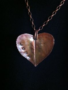 Handcrafted Folded Copper Heart Necklace
