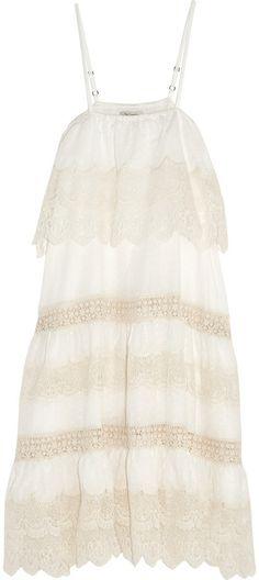 Mes Demoiselles Pistil Crochet and Lace-Paneled Swiss-Dot Cotton Dress