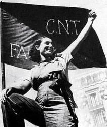 Spirit of '36. Anarchist woman stands in front of anarchist CNT-FAI flag. #Spain #war