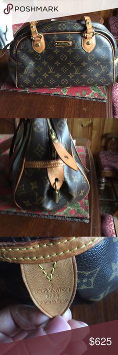 """Authentic Louis Vuitton Montorgueil monogram pm 13"""" x 8"""" x 7"""" so still big bag. Normal wear. Good condition. Louis Vuitton Bags Shoulder Bags"""