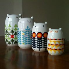 Storage Jars. Clearly the lovechildren of Tove Jansson and Orla Kiely. By Camila…
