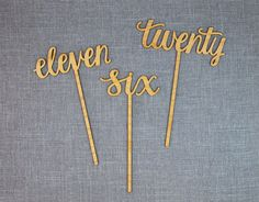 Calligraphy Script Wood Table Numbers by AlexisMattoxDesign, $10.00