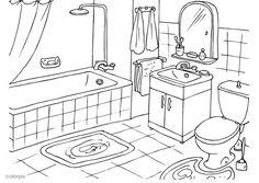 salle de bain la salle de bain un tapis la douche un baignoire un lavabo une toilette une glace une serviette le savon