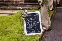 Welcome Sign Chalkboard - Halfpenny London Wedding Dress | Bride 4 Months Pregnant | Rustic Yurt Wedding | Pink Rose Floral Arrangements | Images by Cassandra Lane